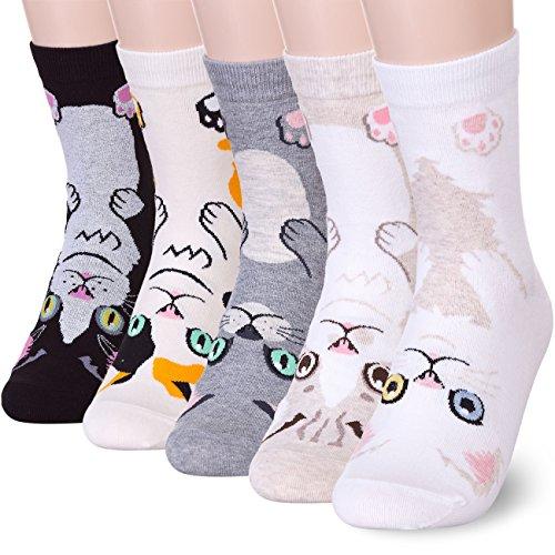 Pet Animal Cat Print Socks (One size, Kitten 5 Pairs) ()