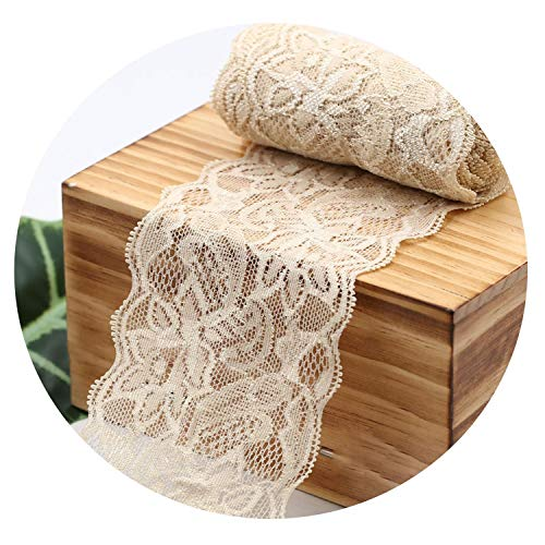 8Cm Spandex Lace Elastic Crafts Sewing Ribbon White Black Stretch Lace Trimming Fabric Knitting Material DIY Garment Accessories,Beige (Nude)