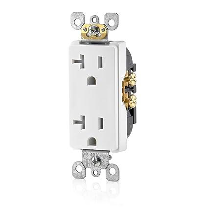 20 Amp Outlet >> Leviton T5825 W 20 Amp Tamper Resistant Decora Duplex Receptacle Residential Grade White