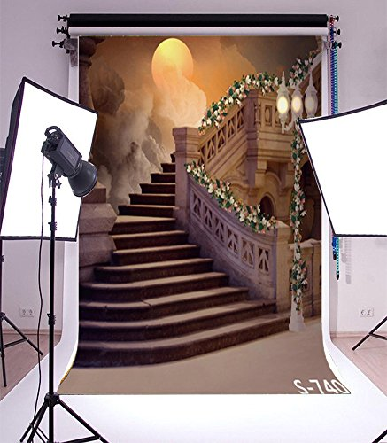 Laeacco 3x5ft Vinyl Photography Backdrop for Kids Children Infant Retro Indoor Palace Stairway Lamp Dark Clouds Gloomy Sky Moon Halloween Festival Portraits Background Studio Props 1x1.5M]()