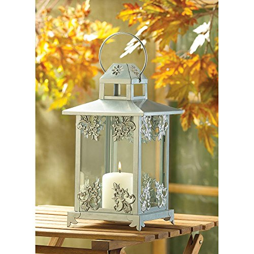 Candleholders Lanterns Silver Scrollwork Candle Lantern Gleaming Silver finish