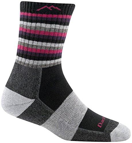 Darn Tough Coolmax Stripes Micro Crew Cushion Socks - Women's Hot Pink Stripe Small