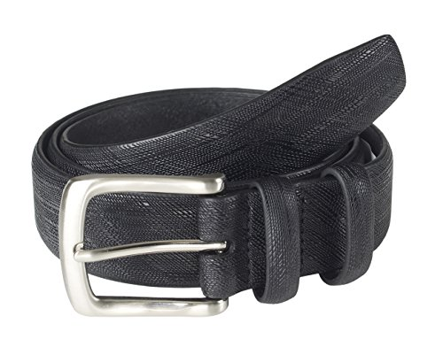 Sportoli Men's Classic Genuine Leather Saffiano Dress Belt - Black (Size 32)