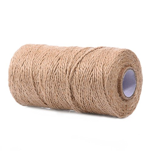 100M Natural Hemp Linen Cord Twisted Burlap Jute Twine Rope String Craft Decor (Twisted String Burlap)