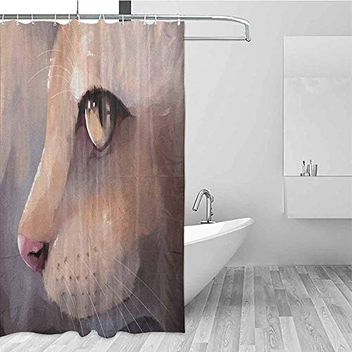 GloriaJohnson Cat Mildew Fabric Shower Curtain Illustration Cat Portrait Kitty Zoom Face Big Eyes Whiskers Meow Contemporary Artful Design Waterproof Antibacterial W69 x L74 Inch Cream