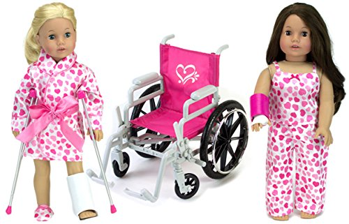 9 Piece Doll Wheelchair, Pajamas & Accessories for 18 Inch Dolls Like American Girl Dolls Includes Doll Wheelchair, Doll Crutches, Doll Pajamas & More