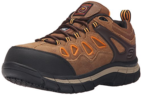 Skechers for Work Men's Dunmor 77070 Work Shoe,Brown Suede/Orange Trim,8.5 M US ()