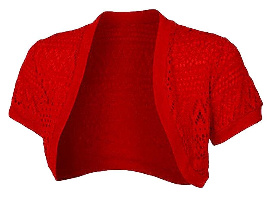SHOWNO-Women Short Sleeves Lace Crochet Bolero Crop Cardigan Shrug Top