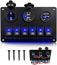 Linkstyle 6Gang Rocker Switch Panel, 12V Waterproof Marine Switch Panel, ON OFF Boat Toggle Switches with Digi