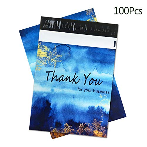 100pcs 10x13 Boutique Thank You Poly Mailers, Blue Watercolor Mailer Bags Package Envelopes with Artwork Designer Waterproof and Explosion-Proof Plastic Shipping Supplies & Shopping Bag for Gifts