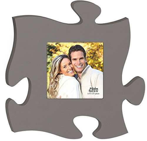 Solid Grey 5.5 x 5.5 Photo Frame Inspirational Puzzle Piece Wall Art Plaque