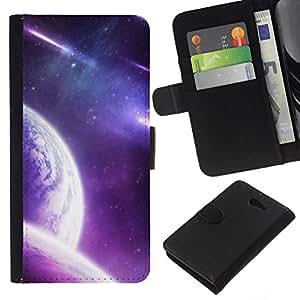 NEECELL GIFT forCITY // Billetera de cuero Caso Cubierta de protección Carcasa / Leather Wallet Case for Sony Xperia M2 // Purple Galaxy Planet