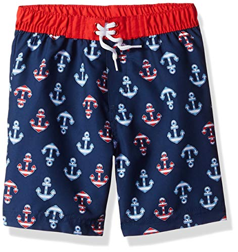 Little Me Kids' Baby and Toddler Boys Swim Trunks, Medieval Blue/Chinese Red/Anchors, 4T ()