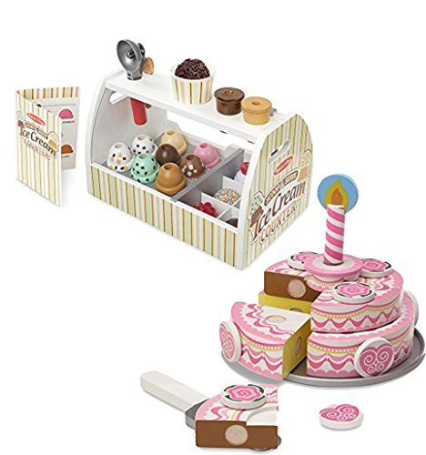 Bundle Includes 2 Items - Melissa & Doug Wooden Scoop and Serve Ice Cream Counter (28 pcs) - Play Food and Accessories and Melissa & Doug Triple-Layer Party Cake Wooden Play Food Set