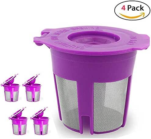 Maxware Reusable Coffee Filters For Keurig 2.0 and 1.0 Brewers Fits K200/K250, K300/K350, K400/K450/K460, K500/K550/K560-- Set of 4 (4, Pink)