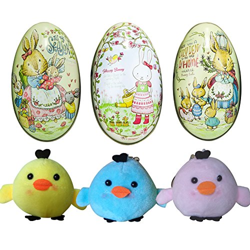 Large Colorful Prefilled Easter Eggs with Chicks Inside for Easter Eggs Hunt Surprise Stuffed Easter Gifts for Kids, Easter Candy Packaging Box, Great Easter Basket Stuffers Decorations, Off-white