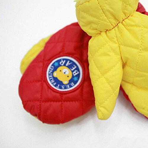1 Pair Kids' Winter Gloves Warm Mittens Windproof Glove(2-6 Years) Yellow/Brown