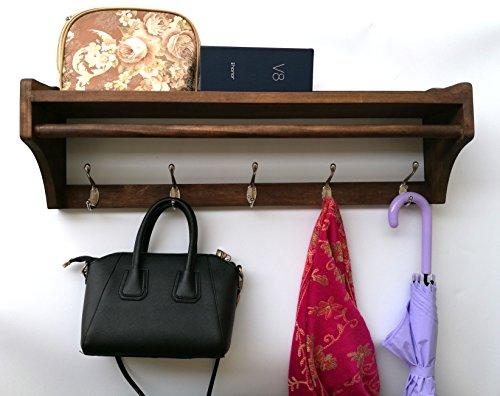 Wood Coat Rack Wall Shelf Wall Mounted Entry Way Coat Rack 25.8wide inch 5hook (Standard Coat Rack)