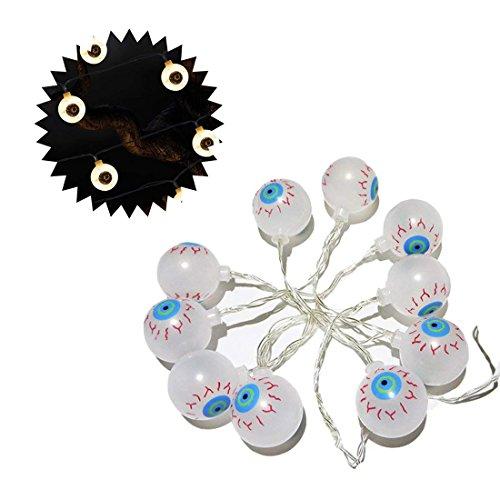 CShopping Battery Operated Eyeball LED Fairy String Lights, 4.9ft Eyeball Lights for Halloween -