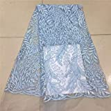 Laliva Madison Fashion Nigerian Laces Fabrics Blue African Laces Fabric Wedding African French Tulle Lace - (Color: as picture1)