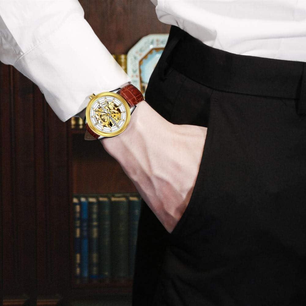 Montres Montre Mécanique Hommes Cadran Creux Design De Mode Visible Mécanique Pochette Étanche Squelette Étanche Automatique Montre Reloj Black Silver