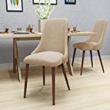 Cheap Raphelle Mid Century Wheat Fabric Dining Chairs with Dark Walnut Wood Finished Legs (Set of 2)