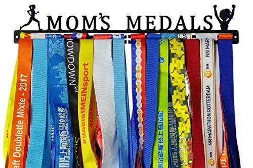 Crownyard Running Medal Holder - Mom's Medals Display Black   Medal Hanger Unique for Running Mom