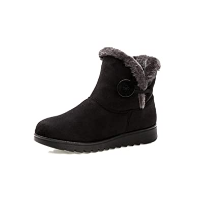 3671cac95a68c Amazon.com | Women's Winter Warm Snow Boots Waterproof Non-Slip Female  Short Boot Plush Round Toe Flat Shoes | Shoes
