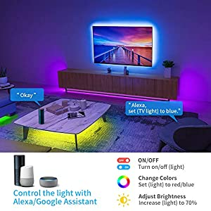 Alexa LED Strip Lights 5M(16.4Ft), Govee Smart WiFi APP Controlled RGB Colour Changing Music Sync Strips Lights for Home…