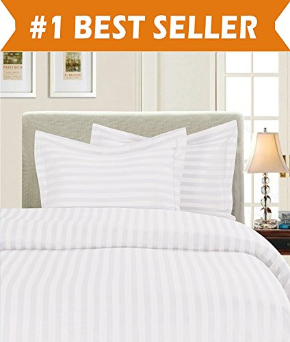 Luxury 3-Piece Striped Duvet Cover Set! - 1500 Thread Count Egyptian Quality Silky-Soft Wrinkle Resistant DAMASK STRIPE Duvet Cover Set, King/California King, White - White Damask