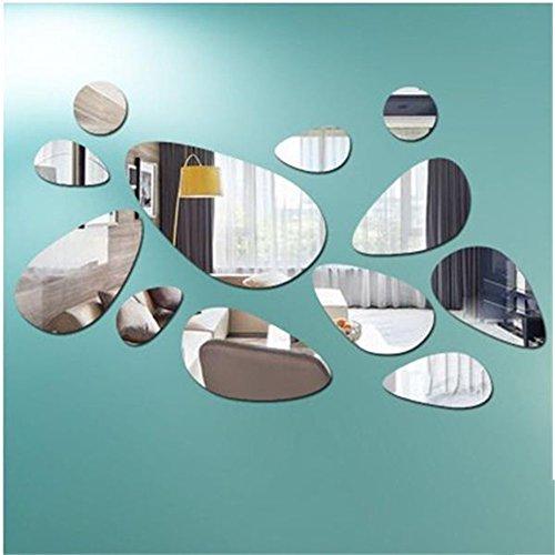 Zehui 12 Unids/Set, Papel para Decorar la Pared, Papel Adhesivo Espejo-Superficie Pebble Etiqueta de La Pared, Set DIY Arte...