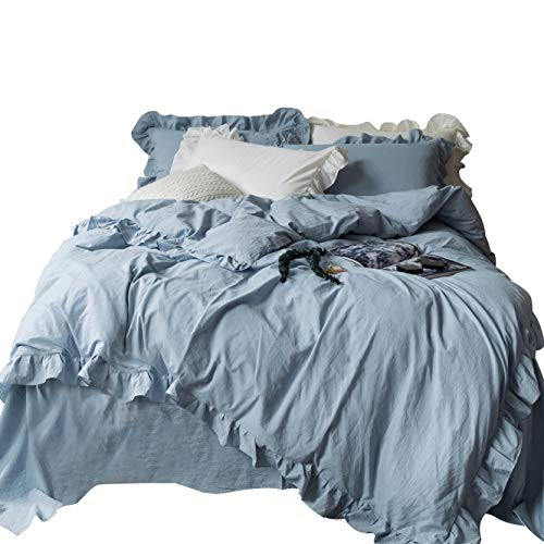 SUSYBAO 3 Pieces Vintage Ruffle Duvet Cover Set 100% Washed Cotton King Size Solid Powder Blue Romantic Lace Bedding Set with Zipper Ties 1 Duvet Cover 2 Pillow Shams Luxury Quality Soft Comfortable (Bedding Ruffle Blue)