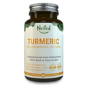Turmeric Curcumin 1000mg with BioPerine | 95% Curcuminoids | 60 High Absorption Vegan Caps + Black Pepper Extract | Herbal Supplement for Healthy Joint Function | Moderate Pain & Inflammation Relief