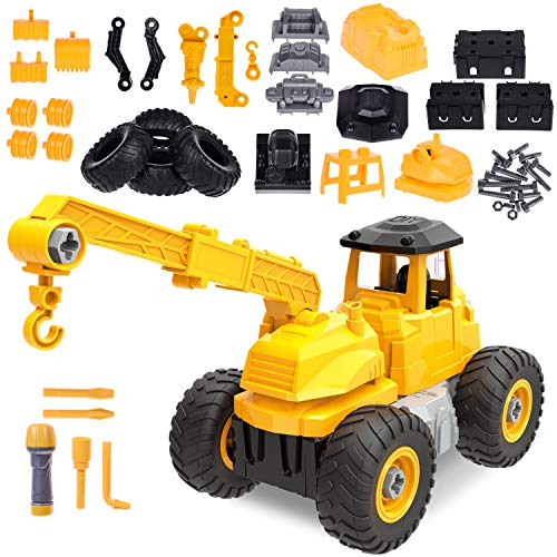 Take Apart Toys with Tools, 51 PCs Construction Toys Trucks, Construction Vehicles for Kids Birthday Gifts, Stem Toys for Boys