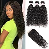 Brazilian Water Wave Bundles With Closure Wet And Wavy Human Hair Weave 3 Bundles With 5x5 Lace Closure 100% Unprocessed Virgin Remy Hair Extensions Free Part Natural Black Color(16 18 20 +14)