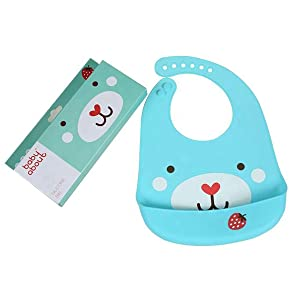 BABY ABOUT Waterproof Lightweight Soft Silicone Baby Bibs for Infants and Toddlers Boys and Girls Keeps Stains Off Easy Wipe Clean, Deep Food Catcher Pocket for Feeding and Eating BPA Free (Blue)