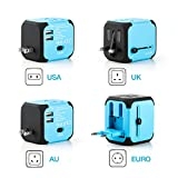 Travel Adapter, Universal Travel Adapters All-in-one Worldwide Chargers for US UK AU EU with Dual USB Charging Ports Universal AC Socket - Safety Fused(blue)