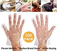 Rayhee Disposable Clear Plastic Gloves 500 Pieces Plastic Disposable Food Prep Gloves,Disposable Polyethylene Work Gloves fo