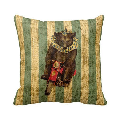 HamishOutletStore Vintage Circus Bear on Motorcycle 45*45CM Burlap Pillow Cases Cushion (Circus Bedding)