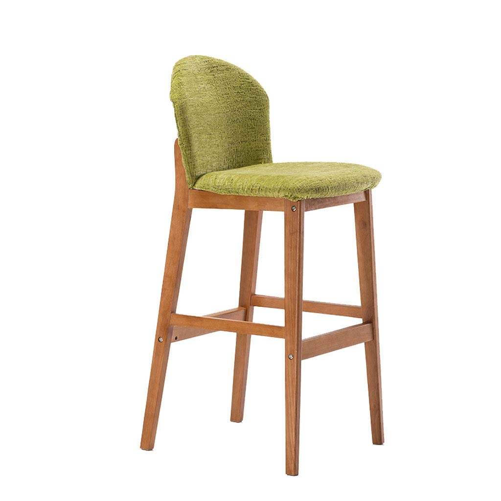 Green A+ Fabric Solid Wood Bar Chair,Solid Wood Frame Removable and WashableHigh Stool,Home Back Dining Chair,High-Elastic Sponge Four-Legged Stool (color   Green)