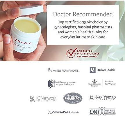 Vmagic Organic Vulva Cream & Intimate Skin Care, Feminine Irritation Relief- Relieves Dryness, Itching, Burning, Redness, Chafing, Odor, Menopause Symptoms - Estrogen Free (2 oz)