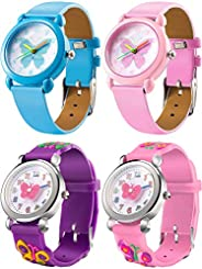 EAST-F 4 Styles Watches for Teenager, 3D Cute Cartoon Wrist Watch Food Grade Silicone Band - Beautiful Butterf