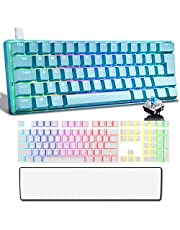 60% Mechanical Gaming Keyboard Ergonomic Wrist Rest and 108 Key Double Shot PBT Pudding Keycap Combo with RGB Backlit Full Anti-Ghosting 61Key Wired Type-C for Typist PC Gamer(Blue+White/Blue Switch)