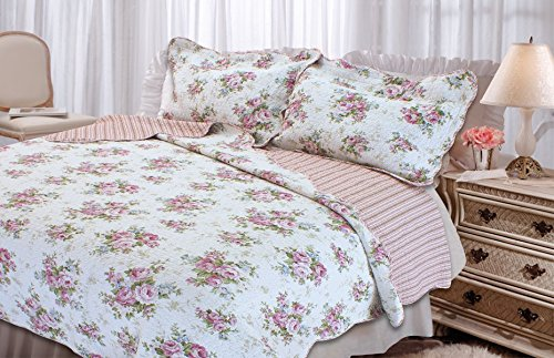 - Textiles Plus Quilted Cottage Spring Rose Quilt Set, Twin