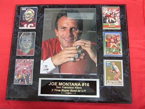 49ers Joe Montana 6 Card Collector Plaque w/8x10 Color Photo SUPER BOWL RINGS