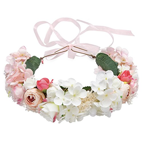 Flower Headband Pink Hair Wreath Floral Flower Crown Bridal Headpiece with Ribbon