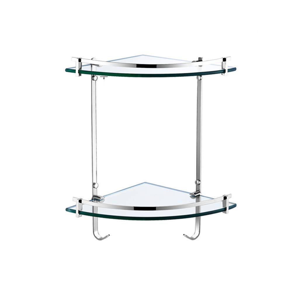 GAOYANG Double Glass Shelf in The Bathroom, Corner Frame, Toilet Hand Washing Toilet, Pendant Wall Hanging, Triangle Storage Rack, 2 Layers (Size: 348245412mm)