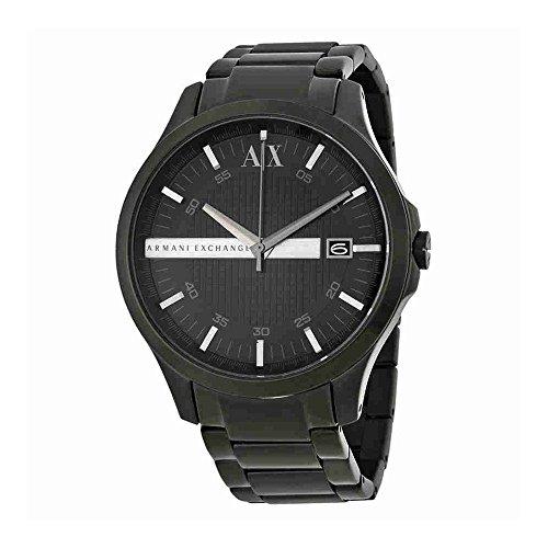 Armani Exchange Hampton Black Dial Black Ion-plated Mens Watch AX2104
