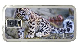 Hipster leather Samsung Galaxy S5 Cases snow leopard cub PC Transparent for Samsung S5