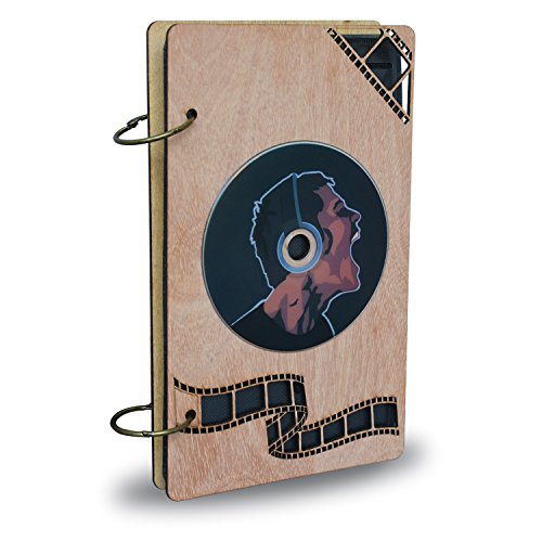 PETAFLOP CD Case DVD Holder Organizer 48 Capacity Disc Storage Cases with Wood Frame (Acid Free Disk Organizer Sheets)